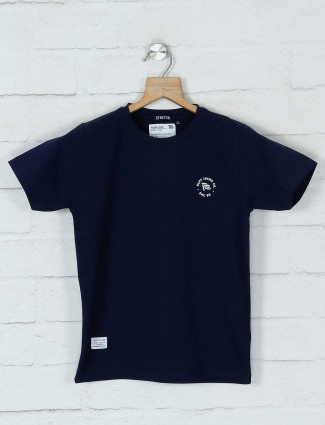 Ruff navy solid casual cotton t-shirt for boys