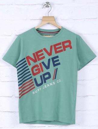 Ruff olive slim fit printed t-shirt