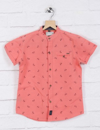 Ruff pink printed chinese neck shirt