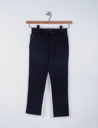 Ruff plain black cotton trouser