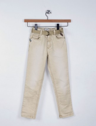 Ruff plain khaki denim elasticed jeans