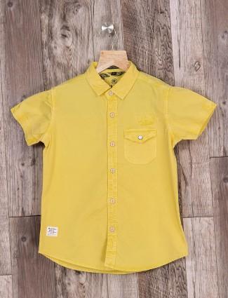 Ruff plain yellow color shirt