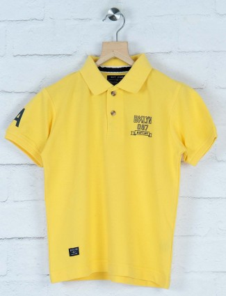 Ruff presented yellow solid t-shirt