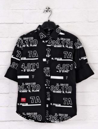 Ruff printed black cotton shirt