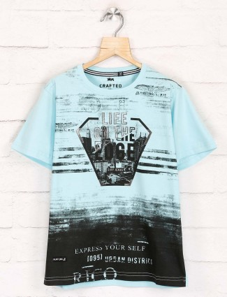 Ruff printed boys light blue t-shirt
