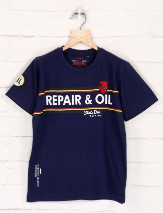Ruff printed navy casual get together t-shirt