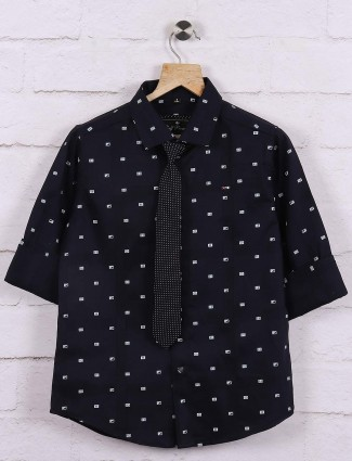 Ruff printed navy hued casual shirt