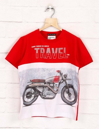 Ruff red and white bike print t-shirt