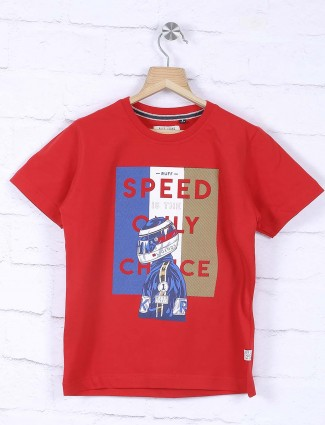Ruff red printed pattern t-shirt