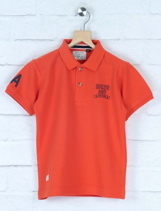 Ruff rust orange solid cotton t-shirt