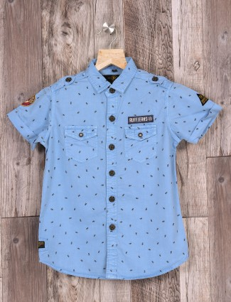 Ruff sky blue boys casual shirt