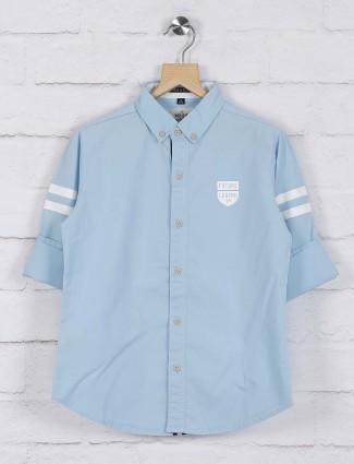 Ruff sky blue solid cotton fabric shirt