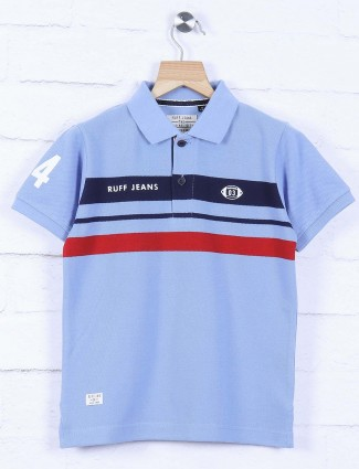 Ruff sky blue stripe cotton t-shirt
