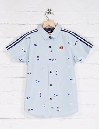 Ruff slim fit light blue printed shirt