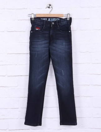 Ruff slim fit navy whiskers effect jeans