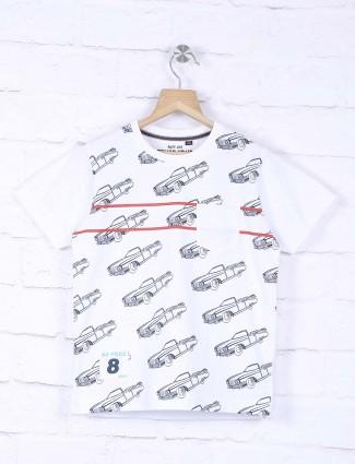Ruff slim fit white printed t-shirt