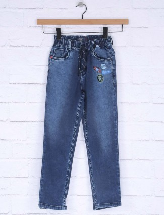 Ruff solid blue color elasticated jeans