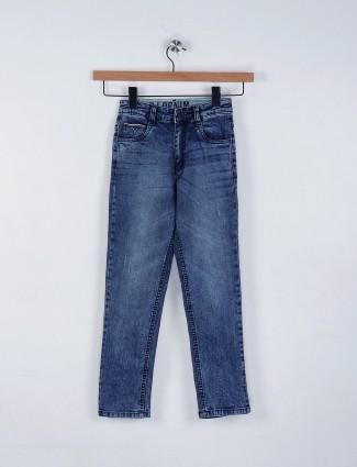 Ruff solid blue slim fit denim jeans