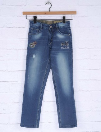 Ruff solid blue slim fit jeans
