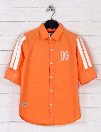 Ruff solid cotton orange full sleeves shirt