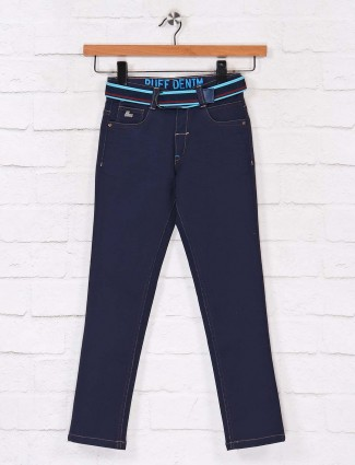 Ruff solid navy slim fit jeans