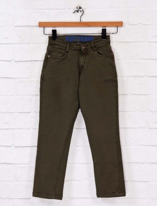 Ruff solid olive slim fit jeans