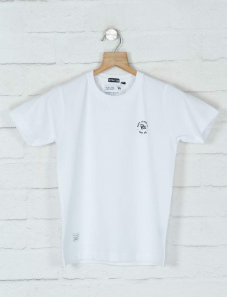 Ruff solid white cotton boys t-shirt