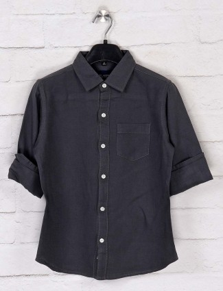 Ruff stone grey casual patch pocket shirt