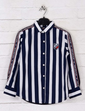 Ruff stripe navy and white shirt