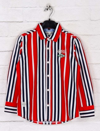 Ruff stripe red boys cotton shirt