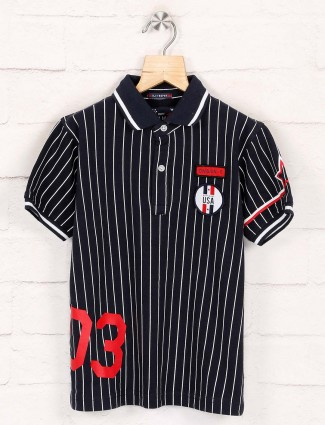 Ruff strong navy stripe polo t-shirt