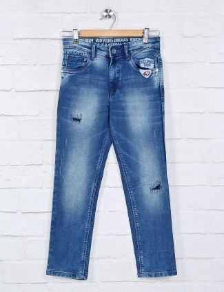 Ruff washed blue ripped jeans