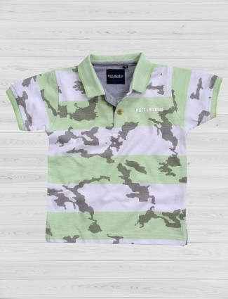 Ruff white and green cotton t-shirt