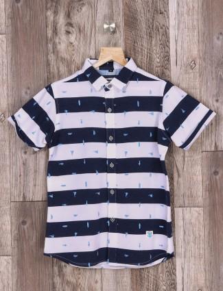 Ruff white and navy boys stripe shirt