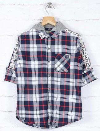Ruff white and navy checks shirt