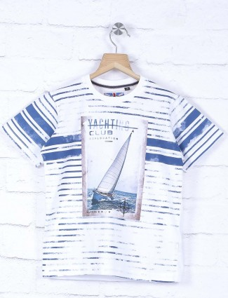 Ruff white boys cotton printed t-shirt