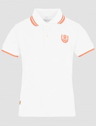 Ruff white casual wear cotton plain polo T shirt