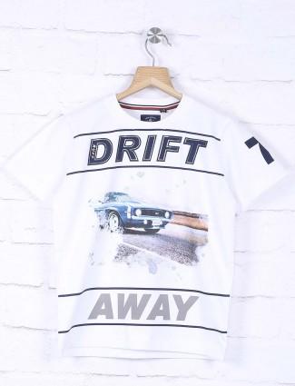 Ruff white cotton printed pattern t-shirt