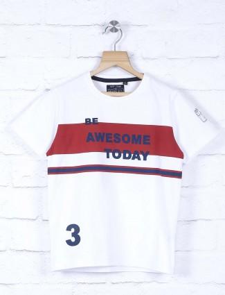 Ruff white cotton printed t-shirt