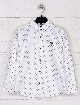 Ruff white polka dot printed slim fit shirt