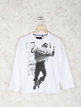 Ruff white printed boys t-shirt