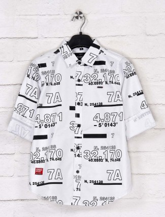 Ruff white printed full sleeves shirt