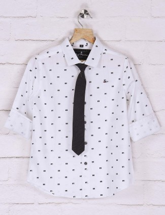 Ruff white printed pattern slim fit shirt