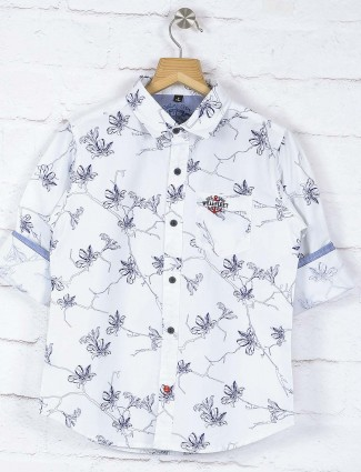 Ruff white printed slim fit shirt