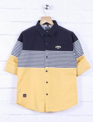 Ruff yellow and navy hued stripe pattern shirt