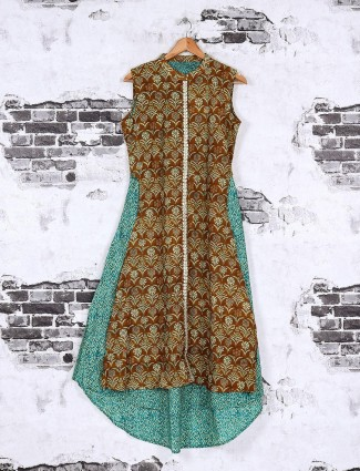 Rust and teal green color kurti