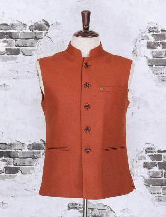 Rust orange color cotton jute waistcoat