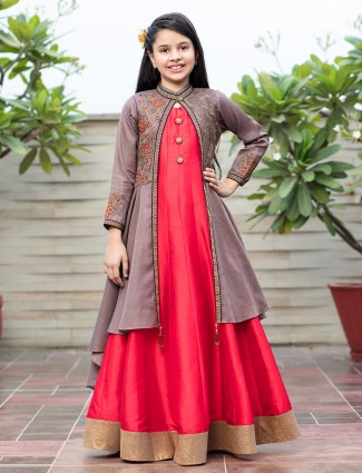 Red hue jacket style gown