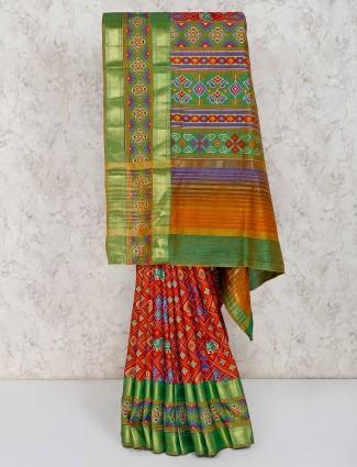 Rust orange cotton silk patola printed saree