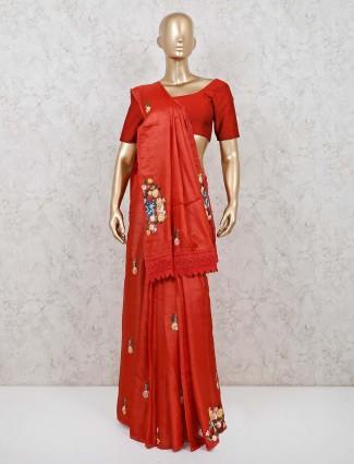 Rust orange cotton silk wedding saree